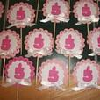 3D Pink and White Scallop Numbers Birthday Party Cupcake Toppers w/bow