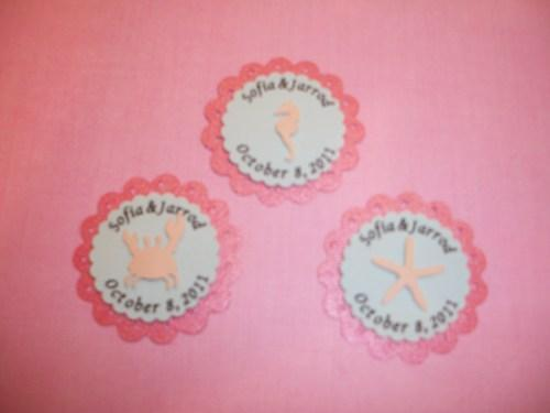 3D Beach Themed personalized Wedding party favor embellishment