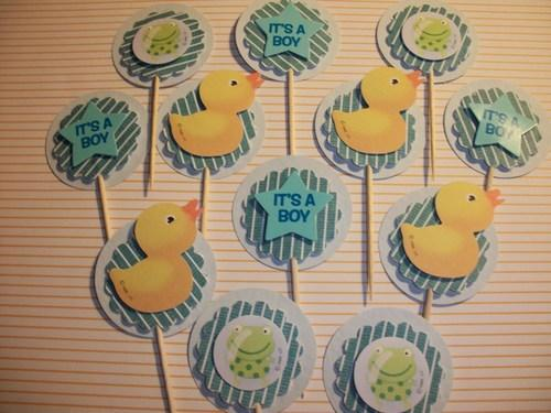 12ct I'ts A Boy Green frog/Yellow Duckie baby shower cupcake toppers