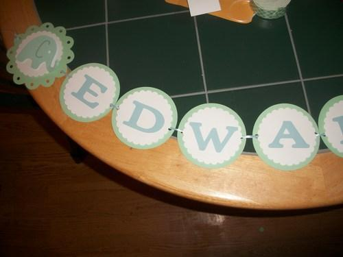 Blue/Green/White Baby Elephant Birthday Banner with Childs Name