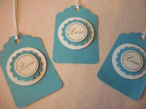 3D Blue and White LOVE thank you party favor hang tags