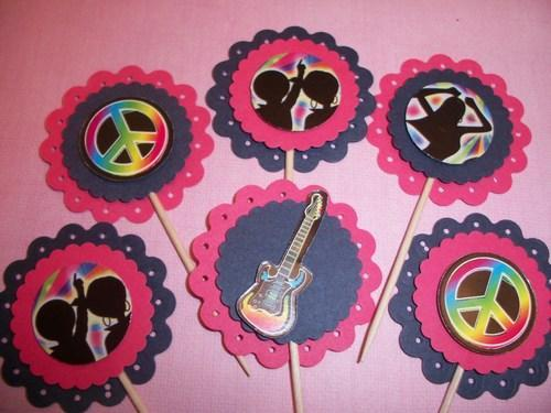 3D Peace signs Guitars Dancers party cupcake toppers/food picks/sale