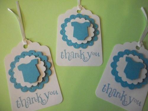 3D Baby Shower Baby Blue Baby Boy Bodysuits/all in one undies Thank You Hang