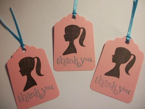 Barbie Inspired Hand stamped Thank You Hang Tags set of 6