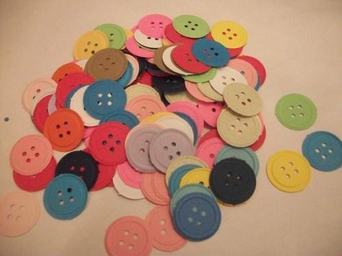 100 Multi color Paper Buttons / Supplies / DIY / destach / sale /