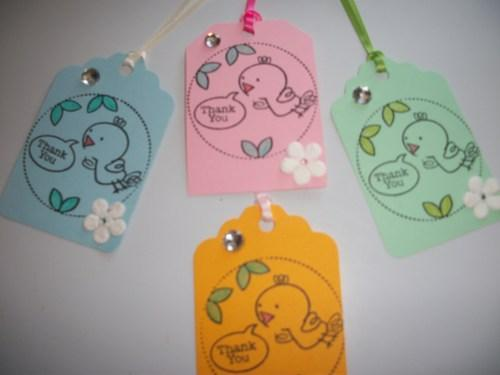 6ct set Little Birdies color assortment Thank You Hang Tags