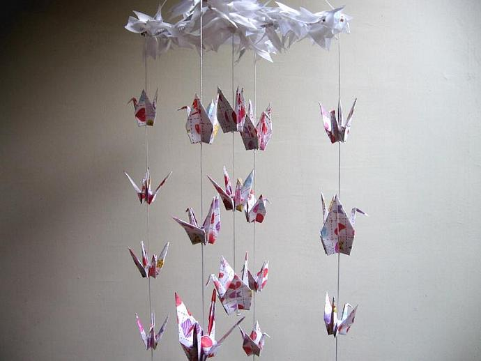 Children decor origami cranes mobile by colourfulorigami on zibbet children decor origami cranes mobile baby mobile nursery decor heart mightylinksfo