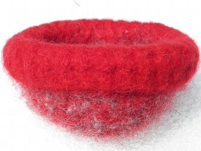 Handmade Bowl of Felted Handspun Wool