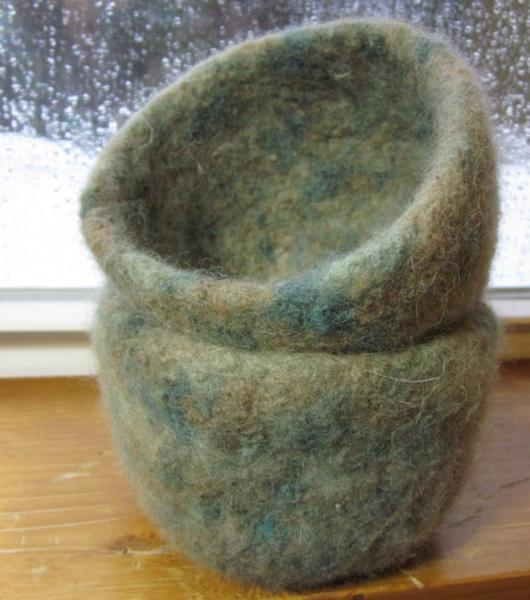Handmade Country-Chic Felted Wool Bowl
