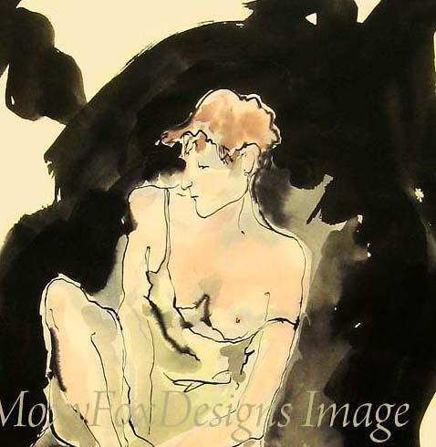 Art --  MEDITATING NUDE  Limited Edition -- FREE US Shipping