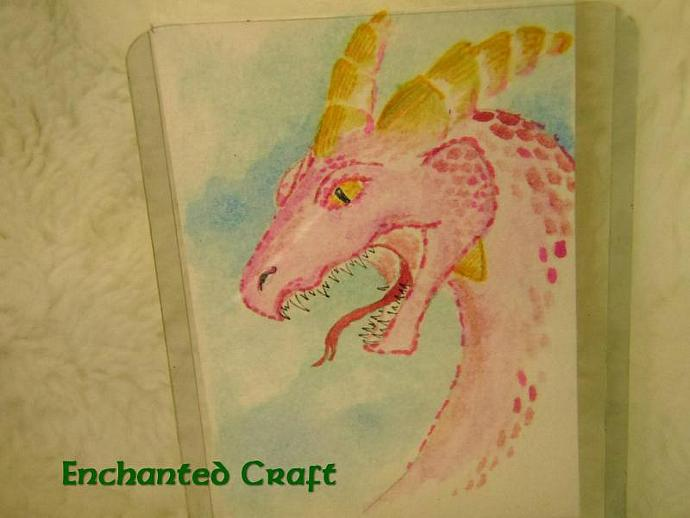 """Say Ahhh- It's a DRAGON!"" original ACEO watercolor painting"