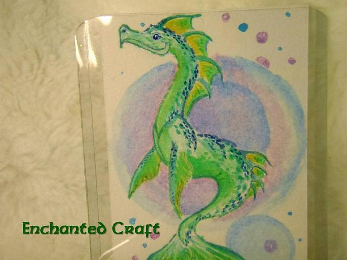 """Sea Dragon's Dance"" original ACEO watercolor painting"