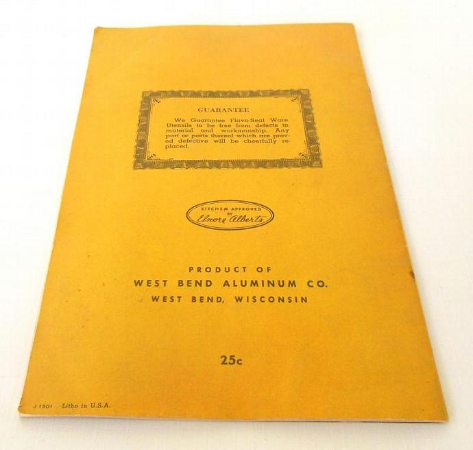 West Bend Flavo Seal Instruction Manual Recipe Booklet Vintage Waterless