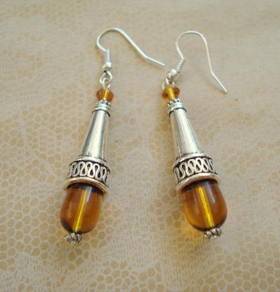 Amber Color Glass earrings