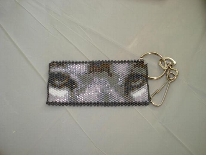 Grey Wolf Eyes Beaded key-chain