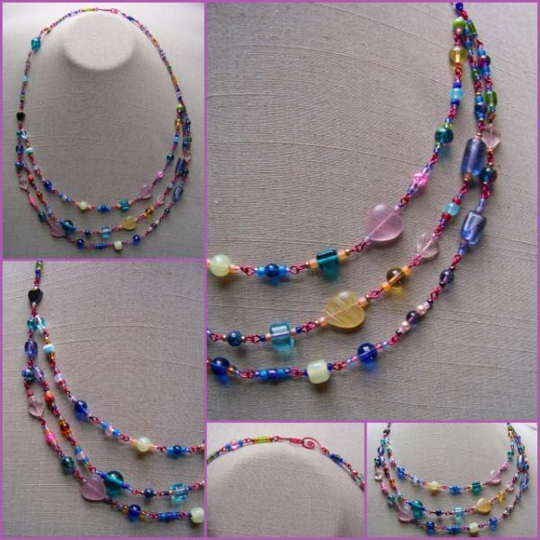 Candy Hearts Fiesta Triple Necklace