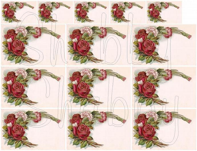 Red roses journal spot card digital collage sheets for scrapbook and cards