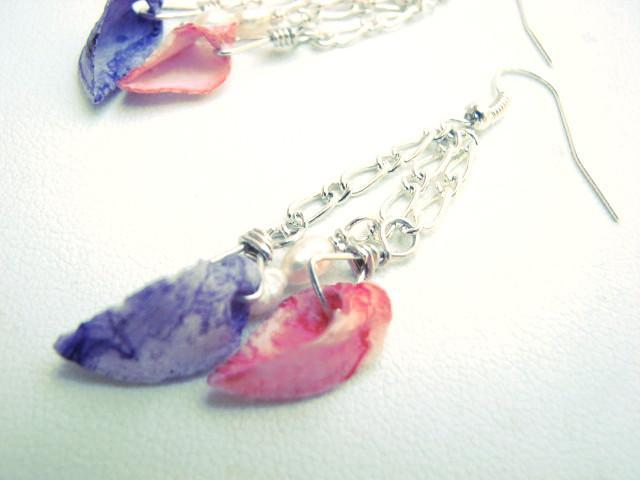 Dyed Seashell Earrings Dangling Silver Chains with Sea Shells and Fresh Water
