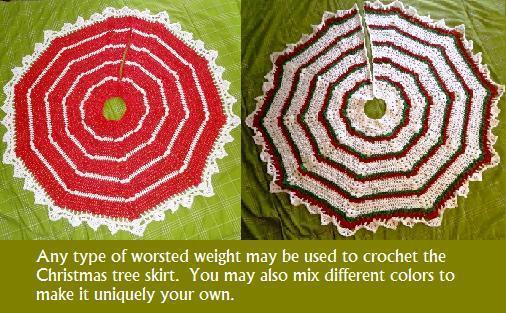Striped Christmas Tree Skirt Crochet Pattern