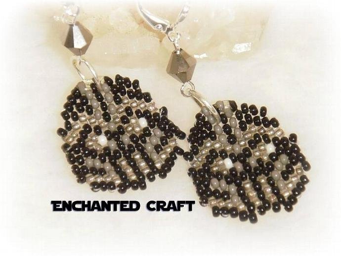 Star Wars Seed bead DARTH VADER earrings- lever back