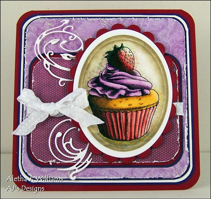 A Cupcake and a Strawberry greeting card by ajsdesigns