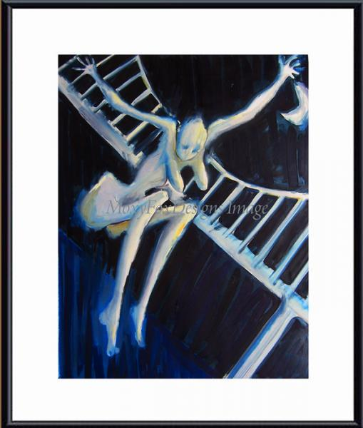 Art -- DESPERATE  NUDE Fine Art Print Moon Bridge Breasts Free US Shipping