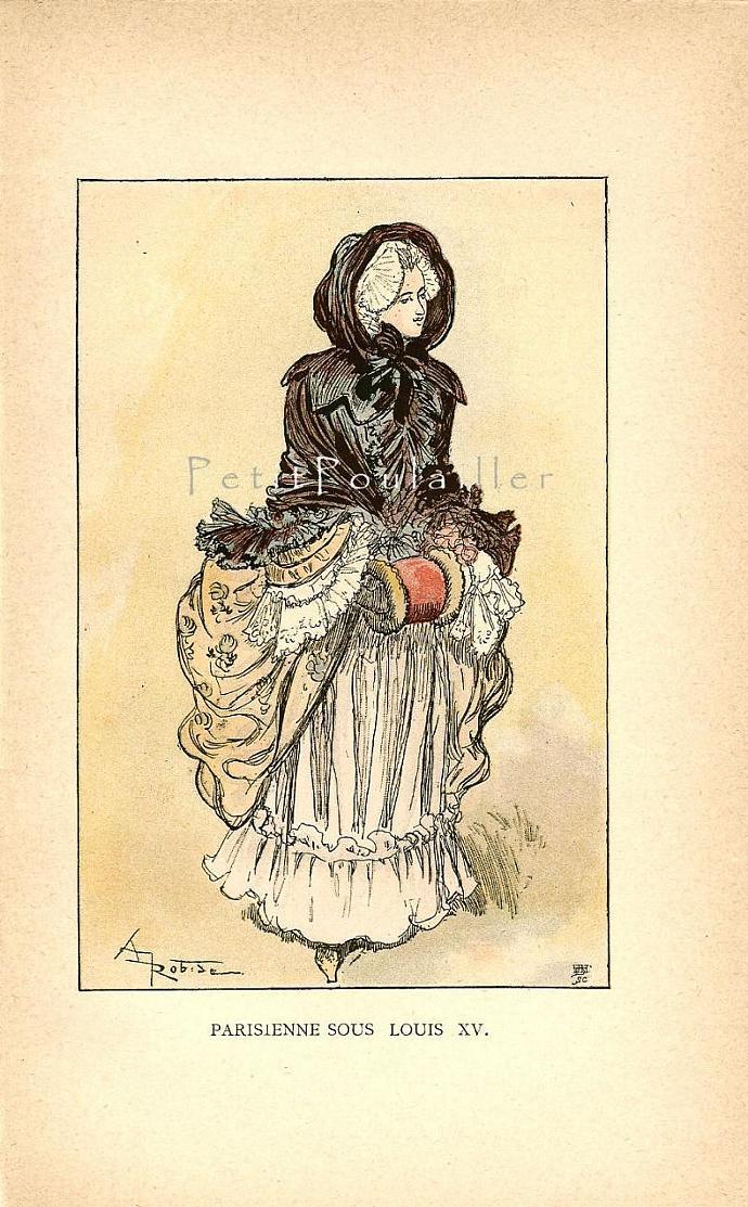 King Louis XV Court Ladies' Fashion 1882 French Fashion Antique Pochoir Print