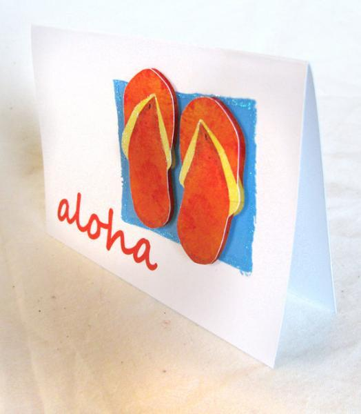 Hawaiian Flip Flops Thank You Greeting Card, Blank Inside 5x7