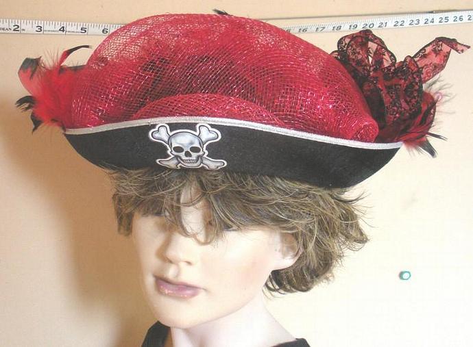 Black/Red Pirate Halloween Hat