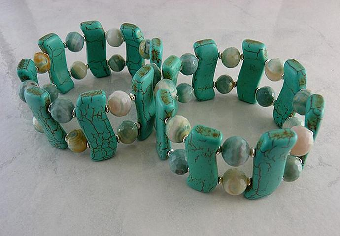 Turquoise Howlite and Faceted Agate Sterling Silver Stretch Bracelets