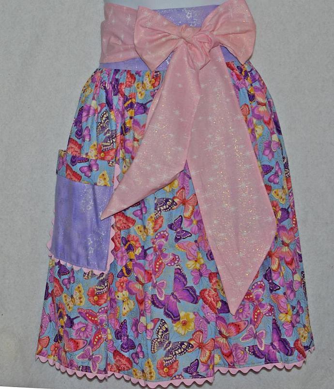 Pink Butterflies Waist Apron