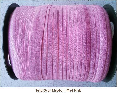 Fold Over Elastic - Med Pink --- ZIBBET