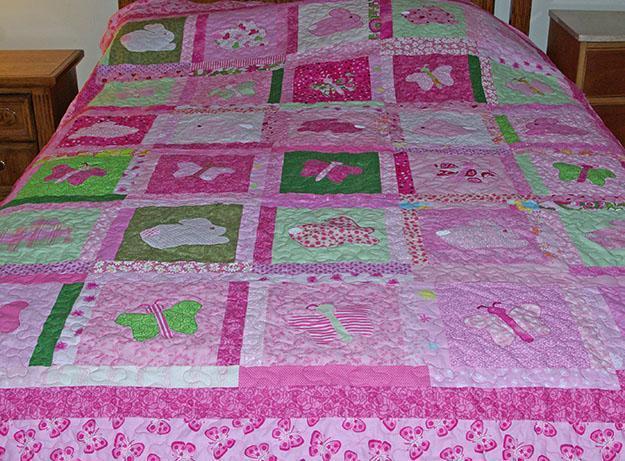 Pink Butterflies and Bunnies Baby Quilt