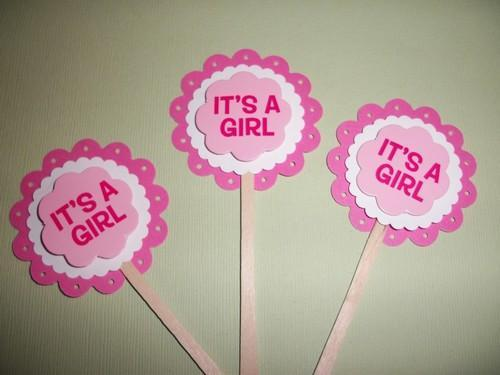 Its A Girl Cupcake toppers / food picks / 12ct