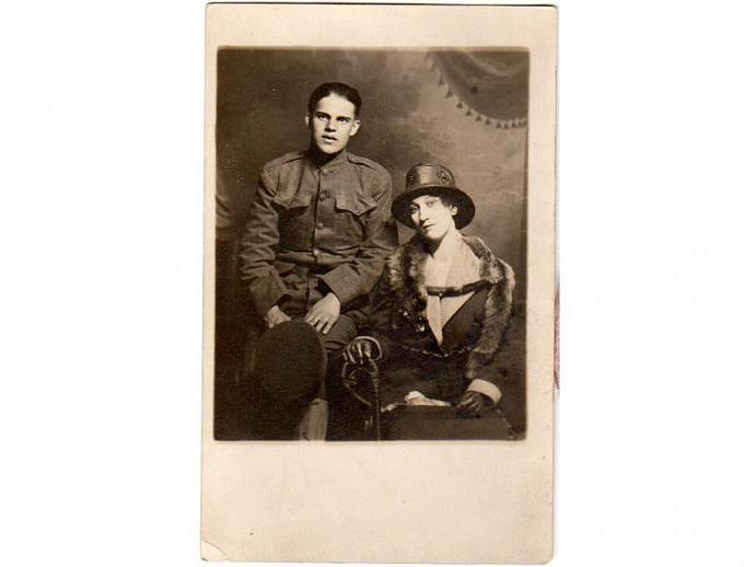 Vintage Real Photo Postcard Young Couple Man in Uniform