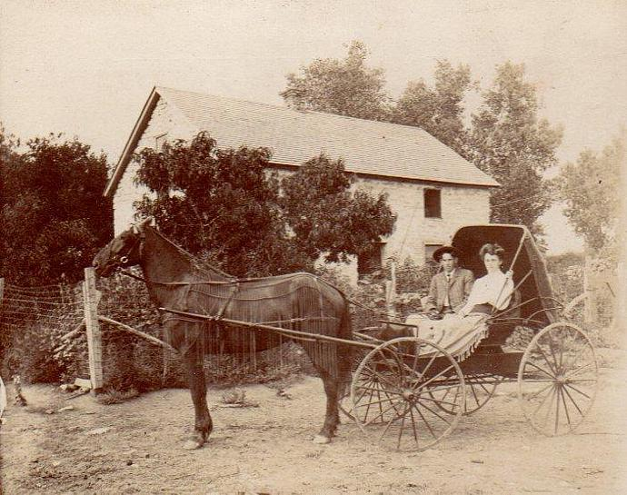Antique Photo Young Couple in Horse Drawn Buggy Fairbury Nebraska Smith Limekiln