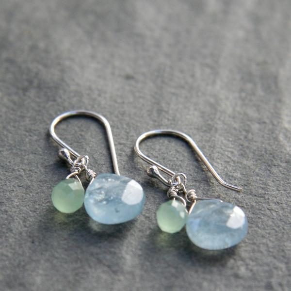 Aquamarine and Green Quartz Drop Earrings