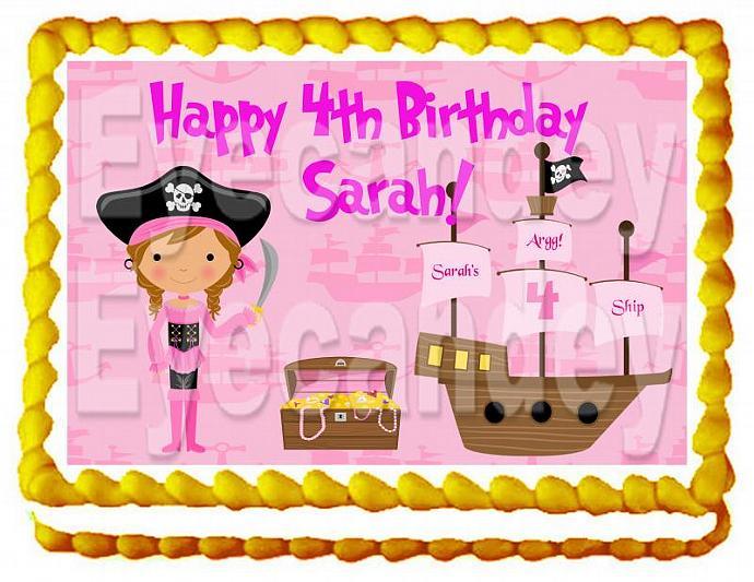 Pretty In Pink Pirate 1/4 sheet cake topper