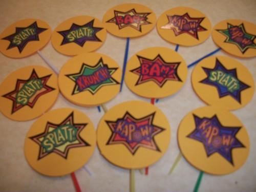 Yellow Super Hero Sayings Cupcake toppers / 12ct