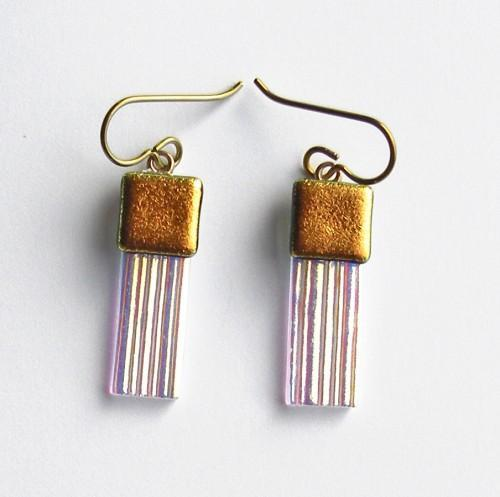 Gold Accents on Iridescent Textured Art Glass Earrings with Niobium Ear Wires