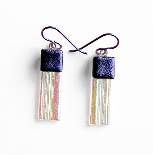 Textured Iridescent Dichroic Art Glass Earrings, Purple Niobium Wires