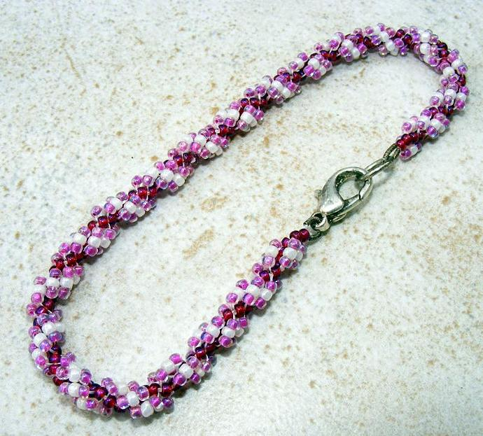Raspberries and Cream Spiral Bracelet