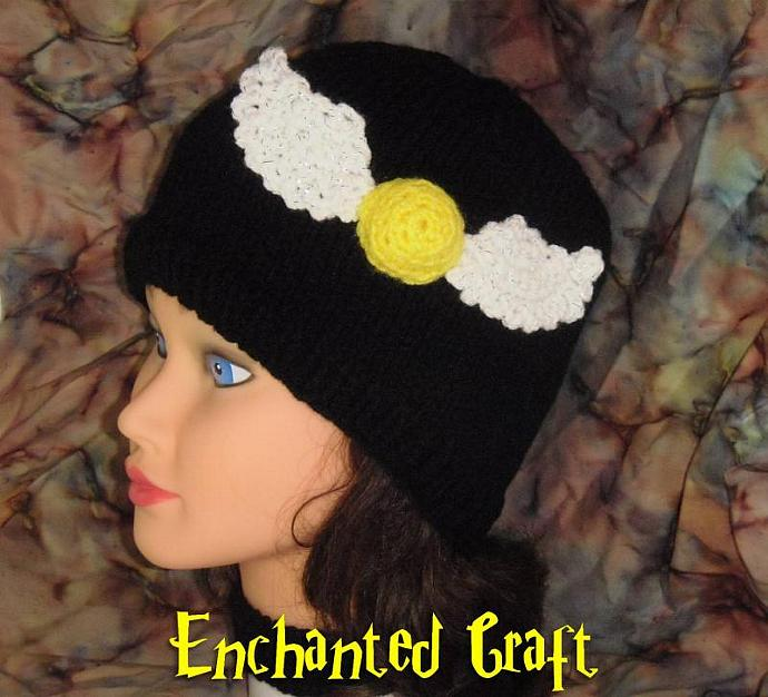 Hand Knitted Golden Snitch Hat - Harry Potter fans