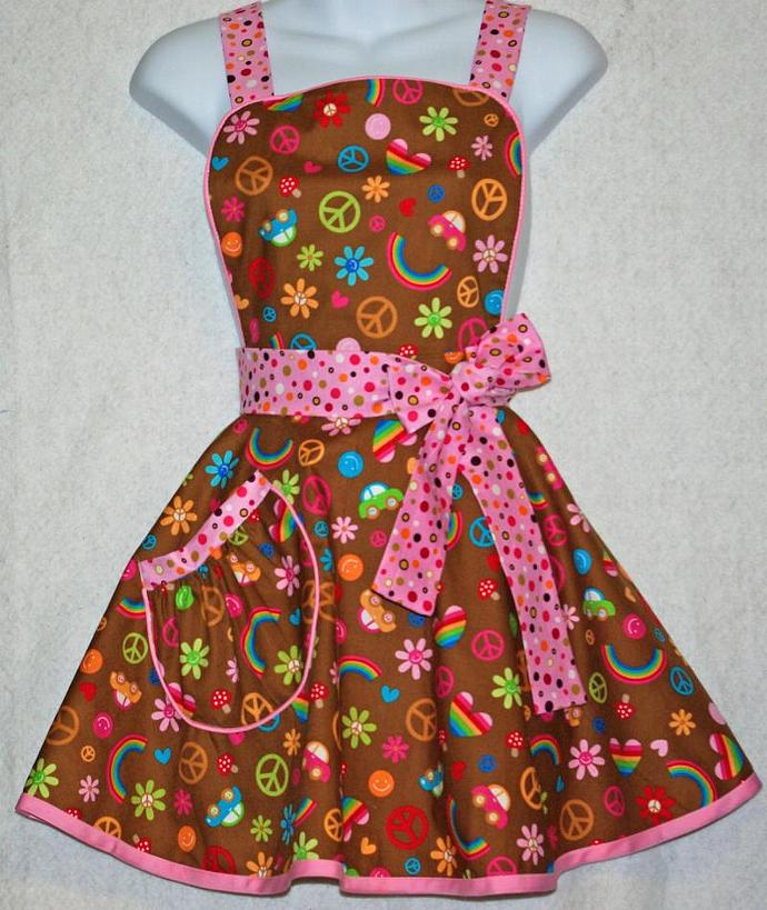 Rainbows and Peace SIgn Apron