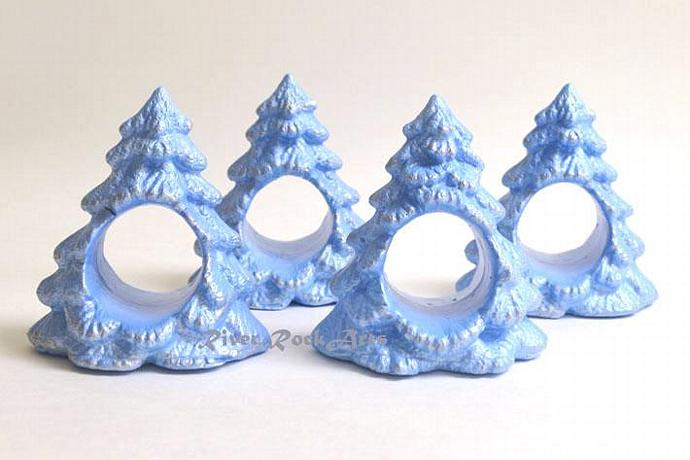 Ice Blue And Silver Ceramic Christmas Tree Napkin Ring Set