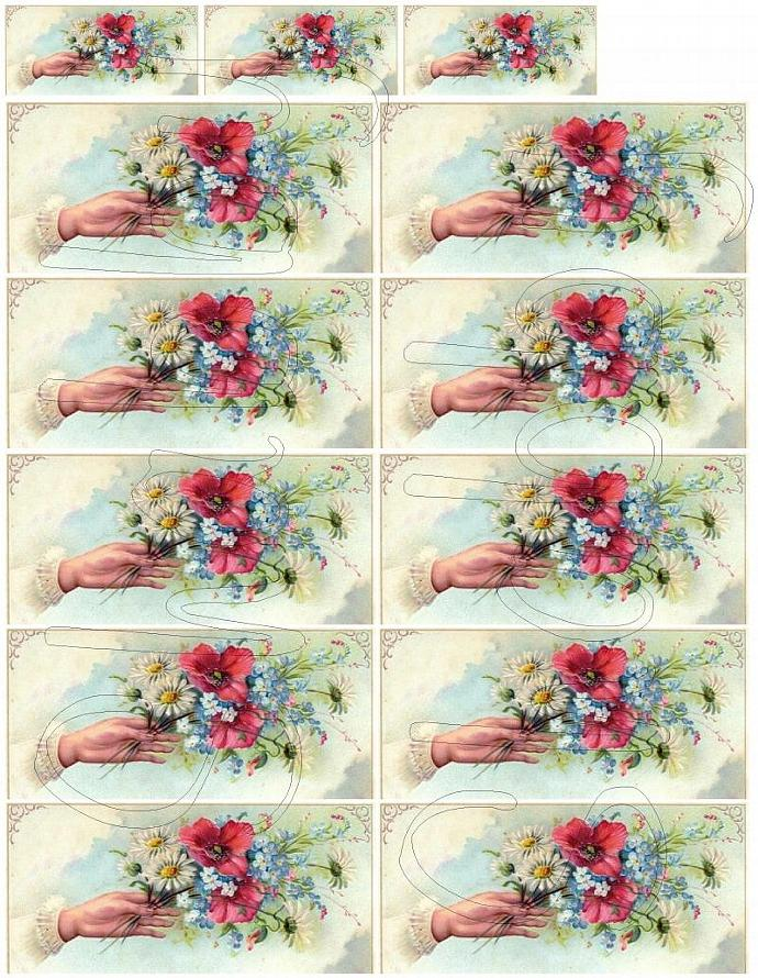 Shabby Chic flower collage sheets for scrapbook and cards  DC216