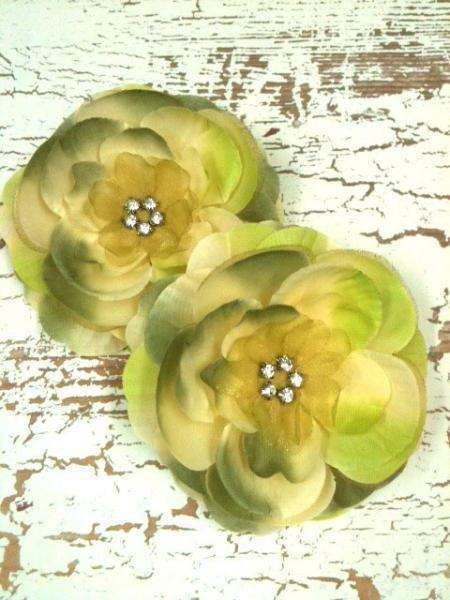 "Premium 3.5"" Spring Moss Silk & Organza Flower w/ Rhinestone Cluster--Set of"
