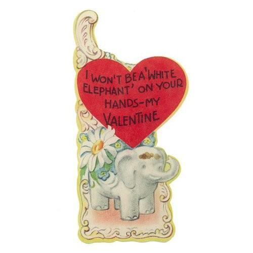 Vintage 1950s White Elephant Daisy Valentines Day Greeting Card