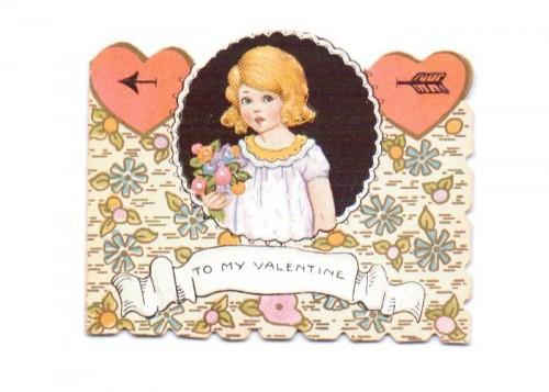 Vintage Valentine Card 1920s Art Deco Little Girl Hearts Flowers Arrow