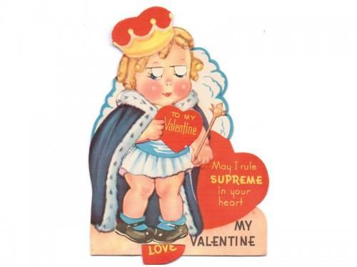 Mechanical Valentine Card Vintage 1940s UNUSED Greeting Queen Girl